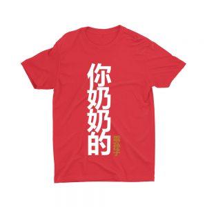 你奶奶的乖孙子 Your Grandmother's Obedient Grandson-children-teeshirt-printed-red-model-singlish-cute-girl-top-fashion-sg-kaobeiking