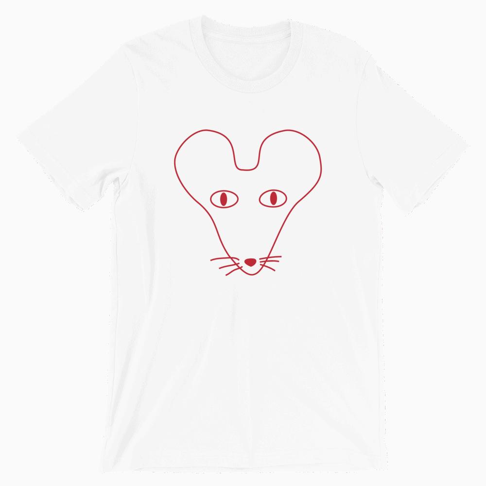 Rat Outline Crew Neck S-Sleeve T-shirt