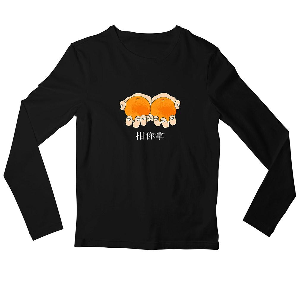 Take The Oranges Crew Neck L-Sleeve T-shirt