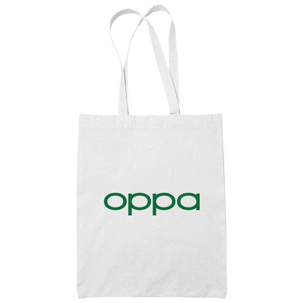OPPa White Cotton Tote Bag