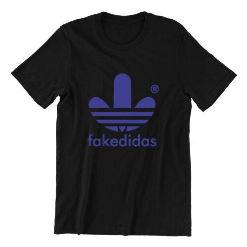 Fakedidas black mens tshirt singapore parody vinyl streetwear