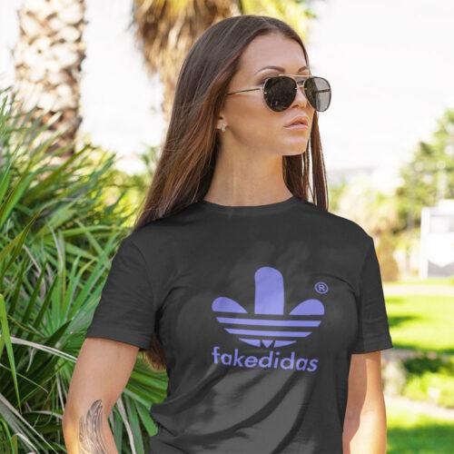 Fakedidas black parody casualwear womens tshirt design clothing