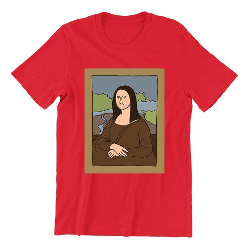 Mona-lisa-red-girls-crew-neck-tshirt-singapore-clothing
