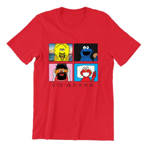 Sesame zoom-red-girls-crew-neck-street-unisex-tshirt-singapore