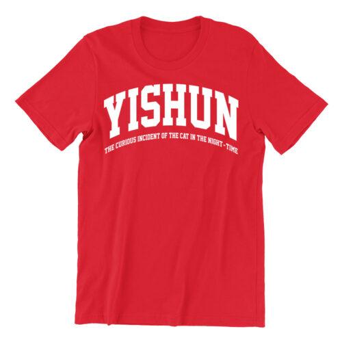 Yishun-red-crew-neck-street-unisex-tshirt-singapore-kaobeking-funny-hokkien-clothing-label
