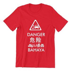 danger red girls crew neck street unisex tshirt singapore